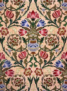 Single Stem Wallpaper Design, 1905 Drawing by John Henry Dearle Damask Wallpaper, Fall Wallpaper, Designer Wallpaper, Textile Design, Fabric Design, Pattern Design, Flower Mirror, Flower Art, Ajrakh Prints