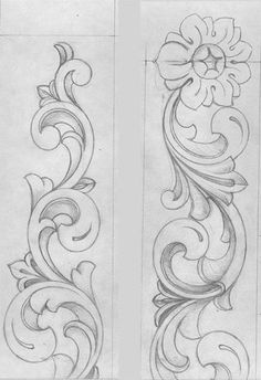 wood carving pictures drawings and - ornaments - . Holzschnitzen , wood carving pictures drawings and - ornaments - . wood carving pictures drawings and - ornaments - Wood Carving Designs, Wood Carving Patterns, Wood Carving Art, Wood Carvings, Leather Tooling Patterns, Leather Pattern, Filigranes Design, Border Design, Pattern Design