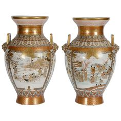 Pair Antique Japanese Kutani Vases | From a unique collection of antique and modern ceramics at https://www.1stdibs.com/furniture/asian-art-furniture/ceramics/