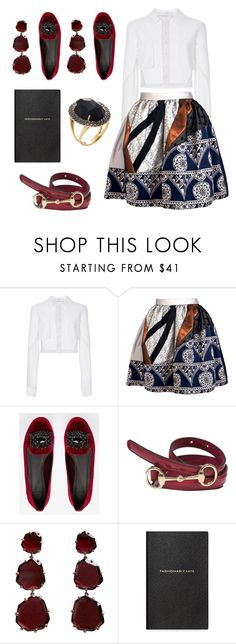 """Ruby Ruby Red"" by aliciahgibson ❤ liked on Polyvore featuring Carolina Herrera, Joana Almagro, ASOS, Gucci, Annoushka, Smythson and Vianna B.R.A.S.I.L"