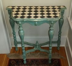 Annie Sloan paint with a mix of light and dark wax. checkerboard tabletop