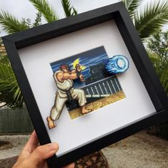gamer room Street Fighter Shadow box with Ryu Street Fighter, Shadow Box, Deco Gamer, Home Music, Deco Cool, Game Room Design, Gamer Room, Game Background, Painting On Wood