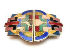 c1930 ORIGINAL ANTIQUE ART DECO COLOURED GUILLOCHE ENAMEL ON COPPER BELT BUCKLE