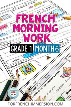 This set of French Bell Work printable worksheets is a great way to start the day in your French classroom. Also called French morning work (or le petit travail du matin), they're activities that your students can complete independently while you attend to other morning classroom tasks. This is Grade 1 Month 6. Great for French Immersion and Core French classrooms. Includes exercises to practice French grammar in context, vocabulary, and reading comprehension. Click to learn more. Bell Work, Core French, French Grammar, French Classroom, French Immersion, Morning Work, 1 Month, Printable Worksheets, Literacy Centers