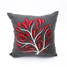 Red Peacock pillow cover made with Dark Gray Linen and embroidered with beautiful peacock flower in deep red.  This pillow cover has hidden zipper at the bottom side and it is available in size 16 x 16, size 18 x 18, size 20 x 20, size 24 x 24 and size 26 x 26. Choose the size you need by using the Size drop down menus.  This listing is for pillow cover only without insert/filler.  More pillow covers in Gray and red are available here…