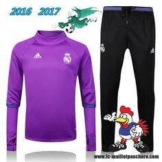 La Liga : Survetement Foot Real Madrid Collar Pourpre + Pantalon Noir 2016 2017 - Homme Kits Pas Chere