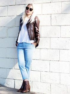 175be6f3f6 39 Stylish Brown Leather Jacket Outfits Ideas To Makes You Look Fashionable
