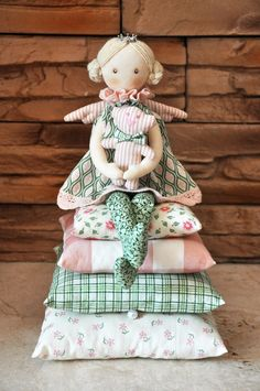 Princess on the Pea, cloth doll, , handmade doll, art doll, handmade doll…