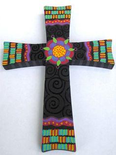 Funky wood cross.  www.StaceyAllenArt.etsy.com