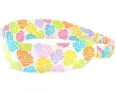 Rainbow of Roses Headband Fabric Headband  by NewEnglandQuilter