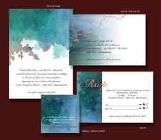 A lovely blue and teal printable  invitation suite made from my own paintings #watercolor #wedding #invite