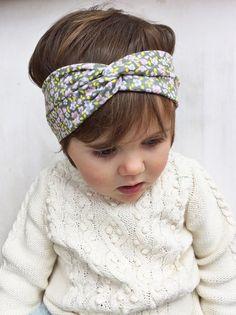 Gray floral turban headband by turbansfortots on Etsy