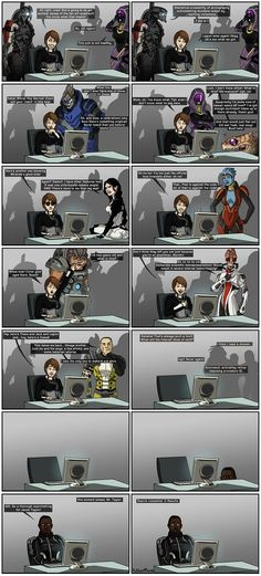When the Normandy crew found out there's a lot of fans out there, this is what they do to learn what fans think about... Mass Effect, developed by Bioware and published by EA Games Official website: www.masseffect.com