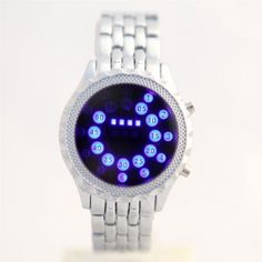 Chic Steel Band Unisex Round LED Wrist Watches