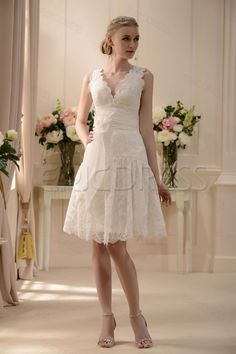 Fabulous V-neck Knee-Length Sash Lace Flowers Wedding Dress Wedding Dresses 2014- ericdress.com 10574910