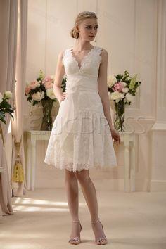 Fabulous V-neck Knee-Length Sash Lace Flowers Wedding Dress Wedding Dresses 2014- ericdress.com 10574910