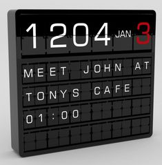 Appointment-Clock by Kiwi & Pom (a British design firm that is still re-working its web site)