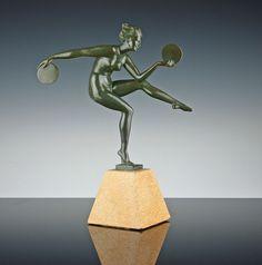 Französische Art Deco Skulptur Figur Tänzerin Marcel Bourain um 1930 Derenne