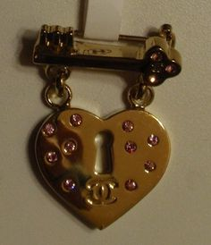 Chanel Heart Lock Key Brooch Pink Stones