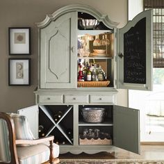 Really want an armoire home bar.not too difficult to DIY with an old armoire from craigslist or the like. Armoire Makeover, Furniture Makeover, Home Furniture, Hutch Redo, Furniture Ideas, Home Bar Sets, Bars For Home, Repurposed Furniture, Painted Furniture