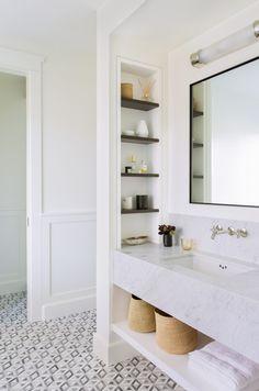 Master bathroom with marble vanity. Katie Martinez Design Master bathroom with marble vanity. Bathroom Renos, Bathroom Shelves, Bathroom Ideas, Built In Bathroom Storage, Wall Storage, Bathroom Renovations, Bathroom Cabinets, Bathroom Organization, Bathroom Sink Countertop