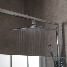 Square 25cm Rain Shower Head and Wall Arm | Stainless Steel Bathroom Accessories | BetterBathrooms.com