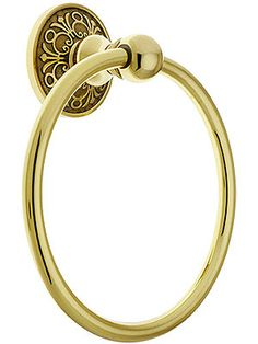 $45.99 Brass Towel Ring with Lancaster Rosette