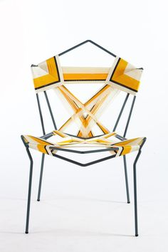 Rami Tareef displays traditional weaving techniques in a striking, modern fashion with the Yellow Warbler, a chair formed by wrapping polypropylene cord around a steel frame. Courtesy of: Oded Antman Design Furniture, Unique Furniture, Chair Design, Furniture Decor, Victorian Furniture, Primitive Furniture, Furniture Logo, Urban Furniture, Pipe Furniture