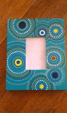 Items similar to Hand Painted Picture Frame on Etsy Dot Art Painting, Mandala Painting, Mandala Art, Painting Frames, Painted Boxes, Hand Painted, Painted Picture Frames, Frame Crafts, Camping Crafts