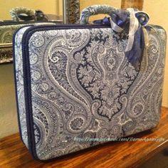 Suitcase with Ralph Lauren Paisley in navy.
