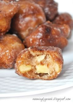 Homemade Apple Fritters    Homemade Apple Fritters     1 heaping cup AP flour  1/3 cup sugar  1 tsp. baking powder  dash salt  1 – 2 tsp. cinnamon (depending on how much you love cinnamon)  1/4 tsp. nutmeg  1/2 tsp. vanilla  1 T. butter, melted  1 egg  1/3 cup milk + plus more if needed  1 – 1 1/2 cups chopped apple, your favorite kind for eati