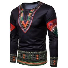 African Clothing Printed Casual Robe Africaine Hip Hip Dashiki T-Shirts Hip Hip, African Men Fashion, Ethnic Fashion, Men's Fashion, Fashion Tips, Casual T Shirts, Casual Outfits, African Traditional Wear, Dashiki For Men