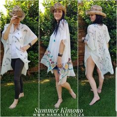 🌞👘⛱ #Summer #Kimono R100 each or R350 for 4 🏡 Already wearing mine 🤩 Stunning #Gift! Available at the #NamasteCabin 💕 Wrapped in a pretty #Peach #Organza #Bag 🎁 Orders WhatsApp 0651144242 or email cat@namaste.co.za . 👘 #DreamCatcher in #Mint #Pink #Stone #White #Blue 👘 #Feather in White 👘 #Floral #Cherry in White or #Black 🤠 #Straw #Stetson #Cowgirl #Hat R200 www.namaste.co.za #NamasteProducts #NamasteBody #NamasteCat #BestSeller #MustHave Summer Gowns, Summer Kimono, Blue Feather, Pink Stone, Namaste, Best Sellers, Must Haves, Cherry, Kimono Top