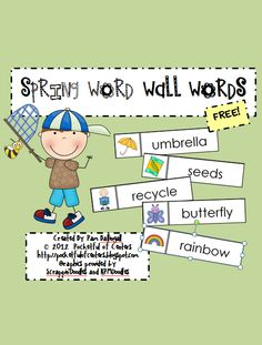 Spring Word Wall Words Math Literacy, Literacy Activities, Literacy Centers, Board Ideas, Wall Ideas, Professor, Increase Vocabulary, Spring Words, Theme Words