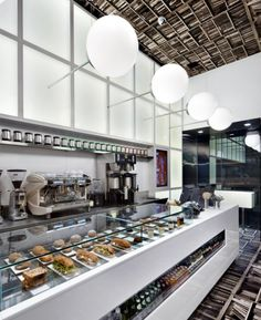 D'espresso Cafe Interior by Nema Workshop, on Creative Journal: a showcase of inspiring design, art, architecture and photography. Coffee Cafe Interior, Coffee Shop Interior Design, Coffee Shop Design, Modern Interior Design, Bakery Interior, Design Shop, Design Café, Cafe Design, Design Ideas