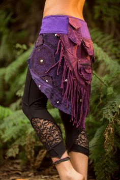 Patchwork Small Pocket Skirt (Purple) -  Sexy Fairy Hippie Boho Goa Festival Gypsy Bohemian Skirt with Pocket