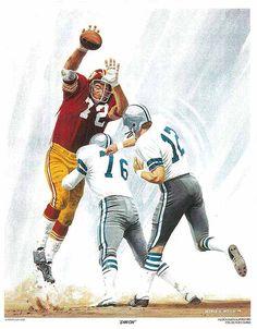 Diron Talbert, McDonalds Redskins Poster art by George G. Redskins Football, Football Art, Vintage Football, Football Helmets, Redskins Vs, Redskins Pictures, Nfc East Division, Long Beach State, Louisiana Tech