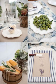 Blue & White French Country Dinner Party... | shower | Pinterest