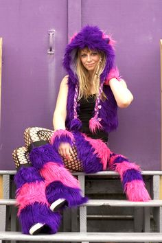ChesHire CaT Hat // Hood & Tail-- Hot Pink Purple  faux fur Size Adult - furry fluffies wonderland cosplay summer festivals go go dance. $68.00, via Etsy.
