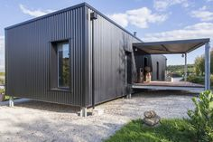 18 Ideas black shipping container house for Gallery of Un Dernier Voyage / Spray Architecture . Container Home Designs, Metal Building Homes, Building A House, Shipping Container Homes, Sea Container Homes, Steel Framing, House Cladding, Prefab Cabins, Building A Container Home