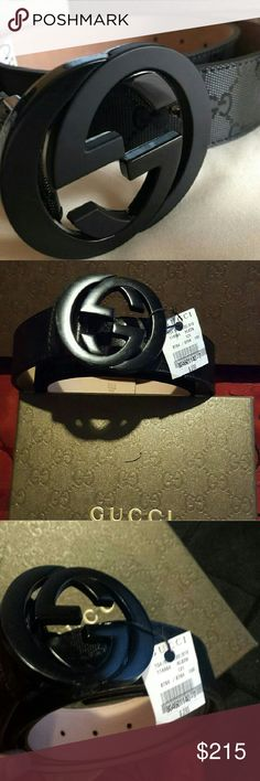 Gucci belt 48/120 Authentic Gucci belt that features a luxurious leather exterior and added studs for length.   Comes with  white Gucci shirt ( medium)   Gucci bag.  Boxing  Tags.  Cloths. Gucci Accessories Belts
