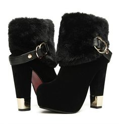 Korean Style Woolen Thick Heels Shoes Short Boot--Click the picture can place an order, we support wholesale.