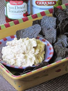 Cara Mia Marinated Artichokes and Sun Dried Tomato Dip: This deletable dip is ready in a flash and can be made ahead of time.  It goes great with chips, crackers, vegetables or bread.