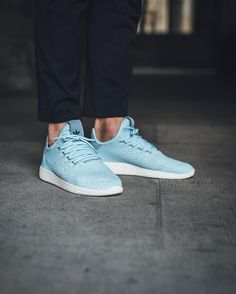 adidas Originals x Pharrell Williams Mens Tennis HU Trainers Ice Blue/Ice Blue/Tactile Blue