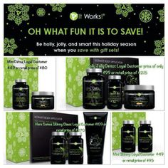IT WORKS! Is having some wonderful Christmas deals!  Get yours before it is too late. www.bodywrapparties.com/tm15692