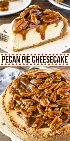 cheesecake recipes Extra creamy cheesecake with a delicious pecan pie topping, and cinnamon pecan graham cracker crust! This pecan pie cheesecake is a seriously next-level dessert! Brownie Desserts, Köstliche Desserts, Delicious Desserts, Dessert Recipes, Desserts With Pecans, Recipes With Pecans, Healthy Desserts, Pecan Recipes, Pie Recipes