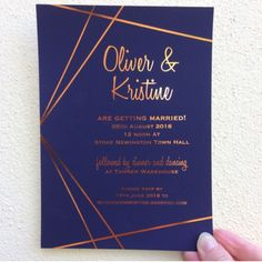 More foil! This time copper on a navy background in a simple geometric design perfect for those non-floral non-fussy couples looking for something a little edgy. #weddingdesign #weddinginvitation #wedding #invitation #copperfoil #foil #love