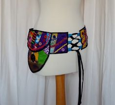 Festival Belt Purse Bum Bag in Crazy Patchwork with 3 Pockets and Waist Ties £25.00
