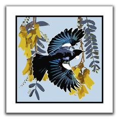 A vibrant paper print depicting a Tui flying against yellow Kowhai blooms. This loose print comes in a secure cardboard roll ready for a frame of your choice. Footrot Flats, Kiwiana, Red Dog, Christmas Birthday, Bird Prints, Online Gifts, Dog Gifts, New Zealand, Nativity