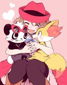 Serena and her Fennekin and her Pancham ^_^ I give good credit to whoever made this  I found this in http://sakunyu.tumblr.com/